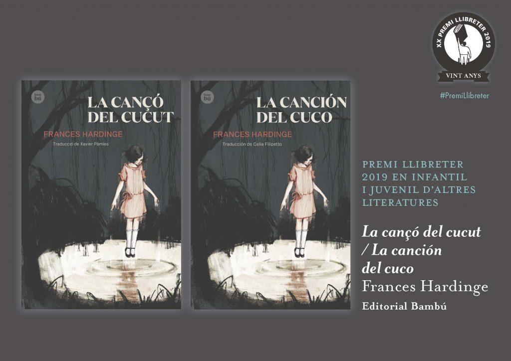 'La canción del cuco', ganadora del XX Premi Llibreter 2019